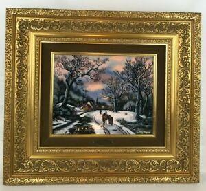 "JP Loup Betourne Limoges Limited Edition Enamel On Copper ""Winter Scene"" /300"