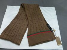 NWT Authentic GUCCI Thin 100% Wool Brown with Green/Red Stripe Scarf