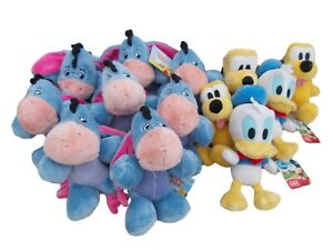 """BNWT Disney job lot of 15 soft toys Eeyore Donald Duck and Pluto. Approx 6"""""""