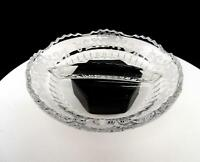 """NEW MARTINSVILLE ELEGANT GLASS RADIANCE FLORAL AND SCROLL ETCH 7"""" DIVIDED DISH"""