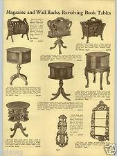 1934 PAPER AD Revolving Book Table Rack Duncon Fhyfe Walnut Wood Magazine