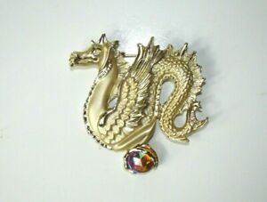 Gold Tone Dragon Brooch With Colorful Stone Mother Of Dragons Unique