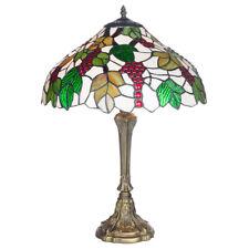 Tiffany 40.6cm Table Lampe Antique Finition Laiton Base & Verre Teinté Abat-Jour