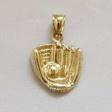 14k Yellow Gold BASEBALL GLOVE with BALL Pendant / Charm, Made in USA