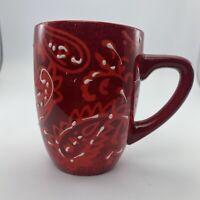 LAURIE GATES Paisley Print Embossed RED coffee mug