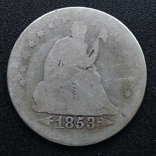 USA 1853 Seated Liberty Quarter dollar 25 cents Philadelphie Argent Rare 2716