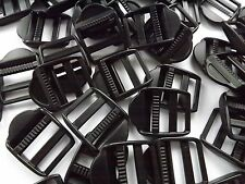 25mm Black Plastic Ladder lock Slider Buckles for Webbing x 10