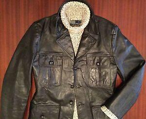 Rare Vintage Leather Jacket Black Single Breasted Men's 40 M