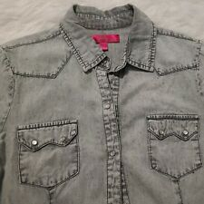 Almost Famous Denim Shirt Snap Button Down Juniors Women Large