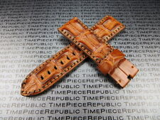 24mm Gold Brown ALLIGATOR HORNBACK Strap Leather Watch Band PAM 1950 II