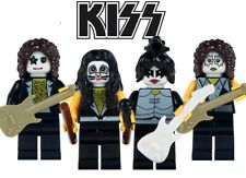 KISS COMPLETE SET OF 4 BUILDING BRICK MINIFIGURES GENE PAUL ERIC TOMMY ROCK BAND