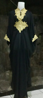 Dubai Morrocan kaftan black abaya  lace maxi dress one size S to XXXL