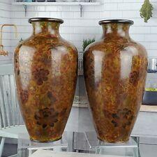 10'' Cloisonné Peony Floral Pair Vases Vase Brown Chocolate Red Tones
