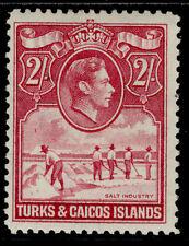 More details for turks & caicos islands gvi sg203a, 2s bright  rose-carmine, m mint. cat £23.