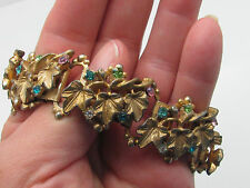 Ornate Rhinestone Leaves Heavy Chunky Gold Plated Book Chain Link Bracelet