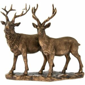Stag & Deer - Bronzed Lifelike Ornament Gift - Reflections Leonardo Collection