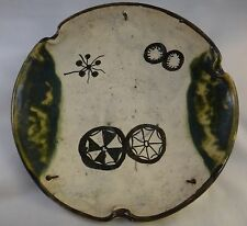 "Antique 19th c. Japanese Oribe Pottery Dish. Meiji period -1868-1912, 10 5/8"" d."