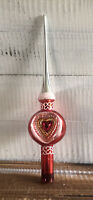 Vintage Blown Glass Christmas Tree Topper Red & Silver Glitter Heart Indent