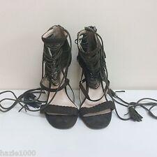 River Island ladies khaki suede tassel sandals with ankle ties,  UK 6/EU 39, VGC