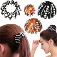 Women Bird Nest Expanding Bun Maker Hair Claw Crystal Ponytail Clamp Hairpin~