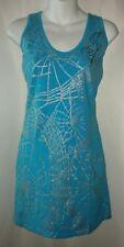 Pepe Jeans London Dress Blue Body Con Street Wear Glitter Spider Webs Goth M 90s