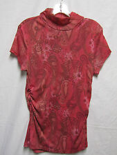 NEW DIRECTIONS XL 12/14 Bust 42 top shirt blouse stretchy fabric Pink multi
