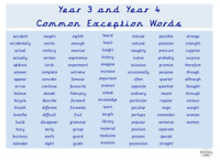 Year 3 and Year 4 Laminated Common Exception Word Mat. Education. Vocabulary A4