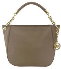 Michael Kors Stanthorpe Hobo Shoulder Bag Dark Taupe Beige Smooth Leather Medium