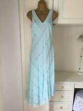 """Next size uk 16 lined pale blue chiffon beaded dress bust 40"""""""