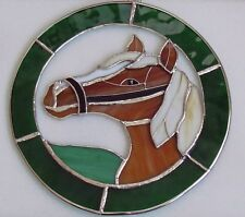 Large Green Stained Glass Horse Pony Hanging Sun catcher Plaque BNIB Gift