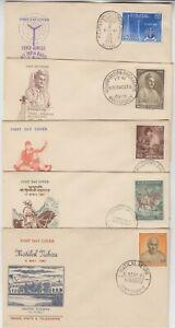 INDIA 1961 6x FDCs INDIA RADIO, VISHNA NARAYAN BHATKHANDE, SWARAJ BHAWAN...etc