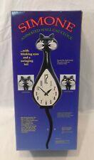 Simone Animated Wall Cat Clock w/ Blinking Eyes & Swinging Tail BLACK