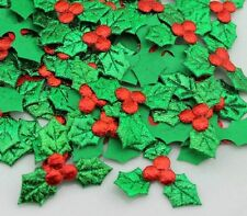 Christmas Holly and Berry Shiny Fabric Embellishment Crafts Card making  X Large