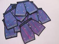 Pack of 10 - Purple Blue Diamond Geezer Shorts Card Making Motif Badge #7E30