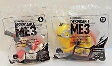 Set of 2 MCDONALD'S 2017 DESPICABLE ME 3 MINIONS HAPPY MEAL TOYS #12 & #6 New