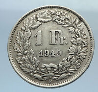 1945 SWITZERLAND - SILVER 1 Franc Coin - HELVETIA Symbolizes SWISS Nation i71622