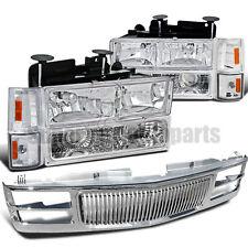 1994-1998 C10 C/K Suburban Pickup Headlight Clear W/ Bumper+Corner+Chrome Grille
