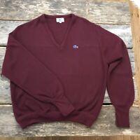 Vintage Izod Lacoste Maroon Burgundy Wine Acrylic V Neck Pullover Sweater XL