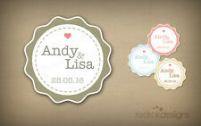 96 Personalised Wedding Stickers   Decoration Labels   18 Colours   Envelope