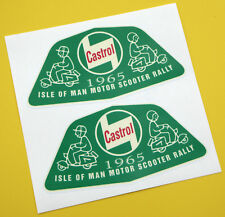 VESPA SCOOTER retro 'CASTROL' ISLE OF MAN 1965 RALLY stickers decals 1 pair
