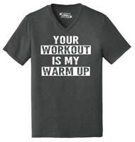Mens Your Workout Is My Warm Up Triblend V-Neck Gym Fitness