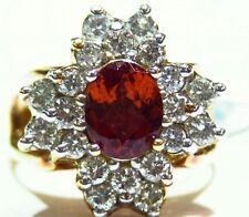 4.44CT 18K Gold Natural Garnet Cut White Diamond Vintage Jewelry Engagement Ring
