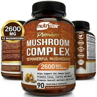 Mushroom Complex Supplement, 90 Capsules - 10 Mushrooms Lions Mane, Reishi Pills