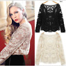 UK Womens Semi Sheer Sleeve Embroidery Floral Lace Crochet Tops Blouse Size 6-18