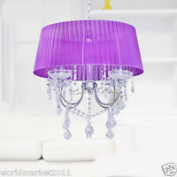 TD505/4T D 400mm * H 800mm Parlor Bedroom 4 Lights Purple Crystal Chandelier