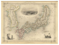 Japan Honshu Hokkaido Shikoku Kyushu Corea illustrated map John Tallis ca.1851