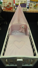 NEW PRETTY PINK LOVE HEART 3PIECE SWINGING CRIB BEDDING SET + MATTRESS + ROD
