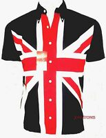 UNION JACK BUTTON DOWN SHIRT MOD RETRO PATRIOTIC SEWN NOT PRINTED by RELCO