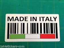 MADE IN ITALY BAR CODE STICKER  GREAT QUALITY FIAT ITALIAN