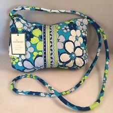 Vera Bradley Small Purse Petitie Petal Turquoise Crossbody Bag Zipper Blue Green